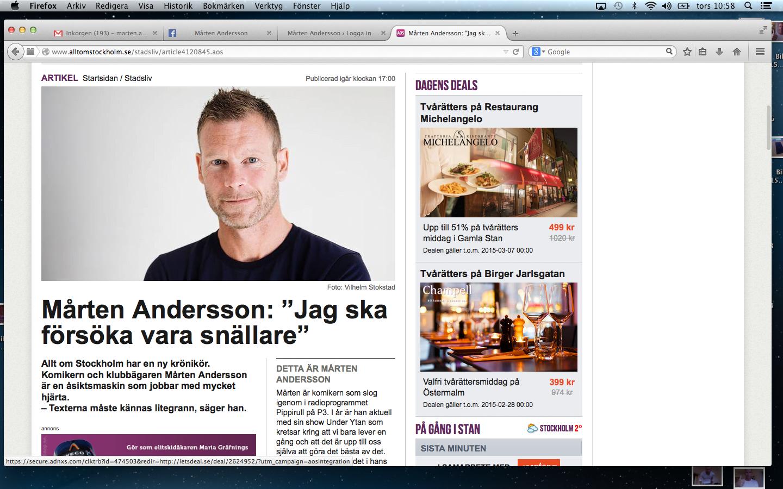 Mårten är ny krönikör på Alltomstockholm.se